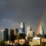 Philly Skyline double rainbow